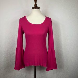 Westbound Pink Ribbed Bell Sleeve Sweater Sz M